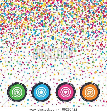 Web buttons on background of confetti. Target aim icons. Darts board with heart and arrow signs symbols. Bright stylish design. Vector