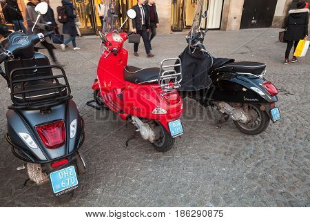 Classic Vespa Scooters Stands Parked