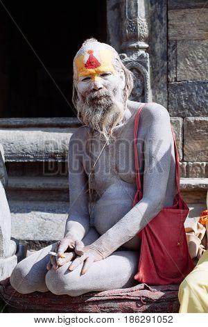Kathmandu - February 17: Sadhu At Pashupatinath Temple In Kathmandu, Nepal On Feb 17, 2017.