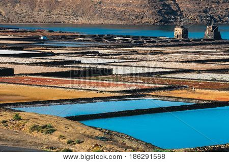 Salinas De Janubio, Salt Mine At The Island Of Lanzarote, Spain