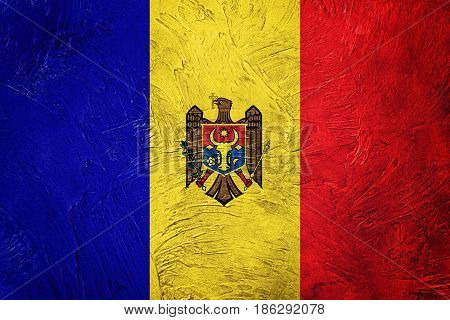 Grunge Moldova Flag. Moldova Flag With Grunge Texture.
