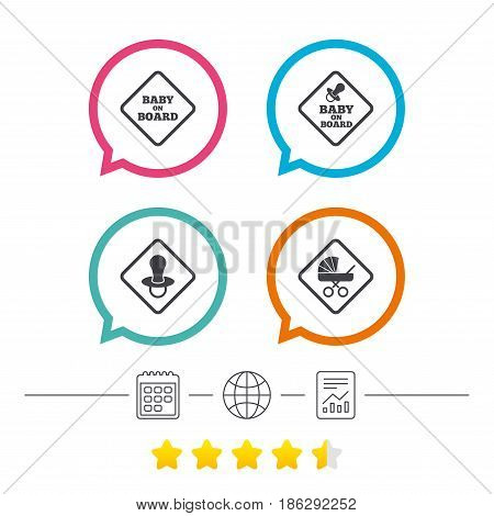 Baby on board icons. Infant caution signs. Child buggy carriage symbol. Calendar, internet globe and report linear icons. Star vote ranking. Vector