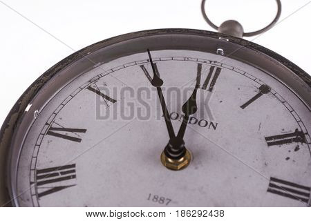 Retro clock with five minutes before twelve, Brexit Time Concept