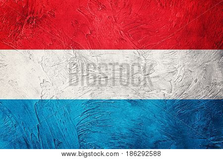 Grunge Luxembourg Flag. Luxembourg Flag With Grunge Texture.