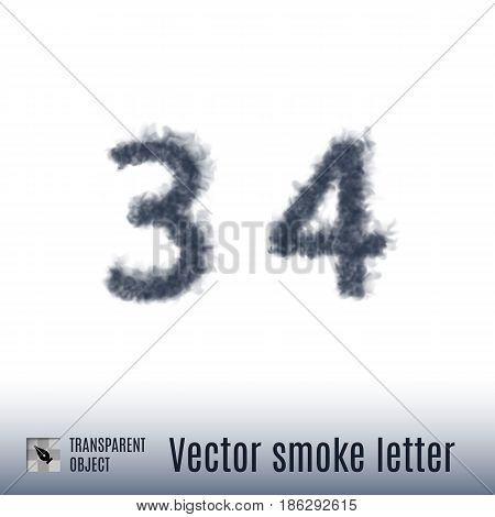 Smoke in Shape of the Number Three and Four on White Background