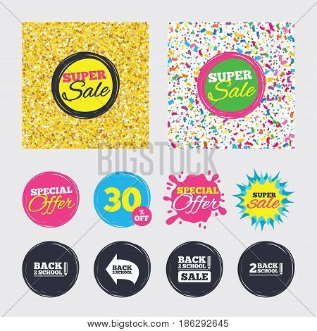 Gold glitter and confetti backgrounds. Covers, posters and flyers design. Back to school sale icons. Studies after the holidays signs. Pencil symbol. Sale banners. Special offer splash. Vector