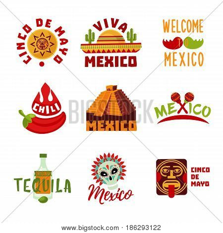 Colorful Mexico logotypes set with tequila sombrero traditional food pyramid maracas mask cactuses and symbols isolated vector illustration