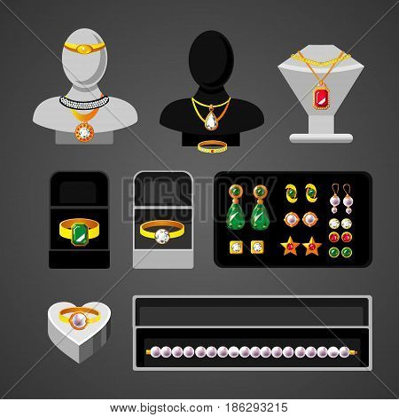 Cartoon jewelry accessories set with elegant rings earrings expensive necklaces bead boxes and female mannequins isolated vector illustration