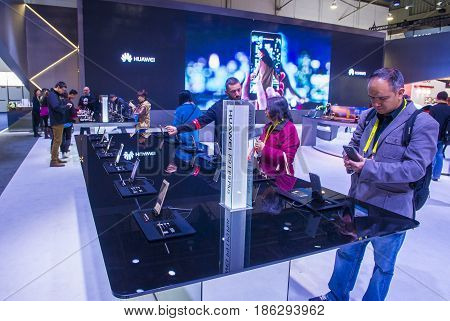 LAS VEGAS - JAN 08 : The Huawei booth at the CES show held in Las Vegas on January 08 2017 CES is the world's leading consumer-electronics show.