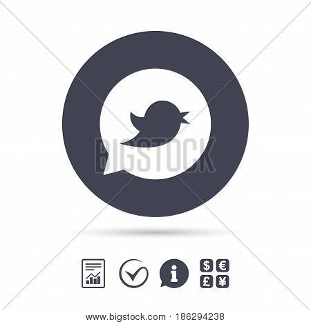 Bird icon. Social media sign. Short messages symbol. Speech bubble. Report document, information and check tick icons. Currency exchange. Vector