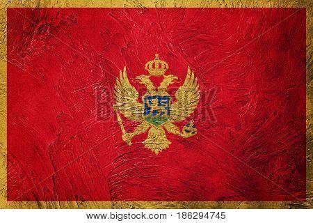 Grunge Montenegro Flag. Montenegro Flag With Grunge Texture.