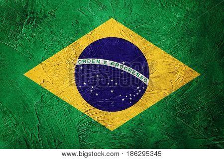 Grunge Brasil Flag. Brazilian Flag With Grunge Texture.