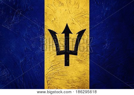 Grunge Barbados flag. Barbados flag with grunge texture.