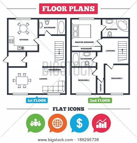 Architecture plan with furniture. House floor plan. Business icons. Graph chart and globe signs. Dollar currency and group of people symbols. Kitchen, lounge and bathroom. Vector