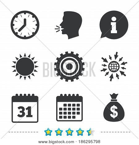 Business icons. Calendar and mechanical clock signs. Dollar money bag and gear symbols. Information, go to web and calendar icons. Sun and loud speak symbol. Vector