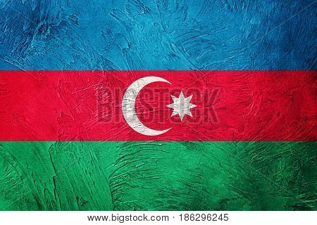 Grunge Azerbaijan Flag. Azerbaijan Flag With Grunge Texture.