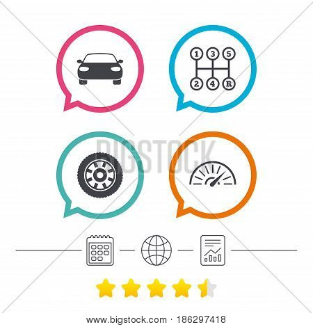 Transport icons. Car tachometer and mechanic transmission symbols. Wheel sign. Calendar, internet globe and report linear icons. Star vote ranking. Vector