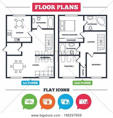 Architecture plan with furniture. House floor plan. Businessman case icons. Currency with coins sign symbols. Kitchen, lounge and bathroom. Vector
