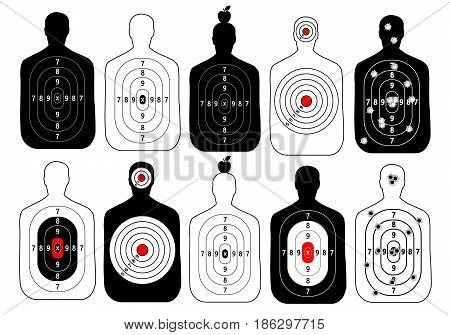 target range shoot human vector set on white background