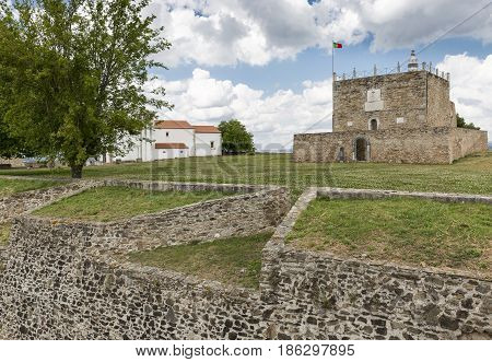 Tower of Homage inside the Castle in Abrantes city, district of Santarem, Portugal