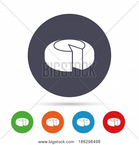 Cheese wheel sign icon. Sliced cheese symbol. Round cheese. Round colourful buttons with flat icons. Vector