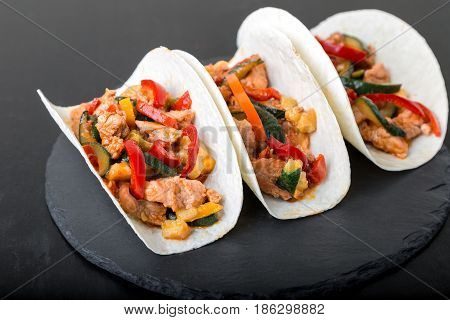 Mexican Tacos With Pork And Vegetables. Al Pastor Taco On Slate Tableware...