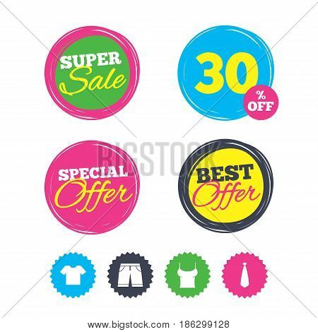 Super sale and best offer stickers. Clothes icons. T-shirt and bermuda shorts signs. Business tie symbol. Shopping labels. Vector
