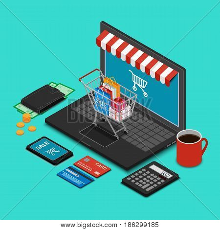Vector illustration. Shopping trolley on the laptop keyboard on the desk. Wallet with money, bank cards, calculator, smart phone. Isometry, 3D. Design for online payments, store.