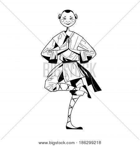 Smiling Shaolin Monk. Black and white. Vector illustration