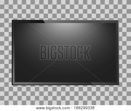 Modern TV blank screen isolated on transparent background. Lcd, led display or computer monitor. Vector illustration.