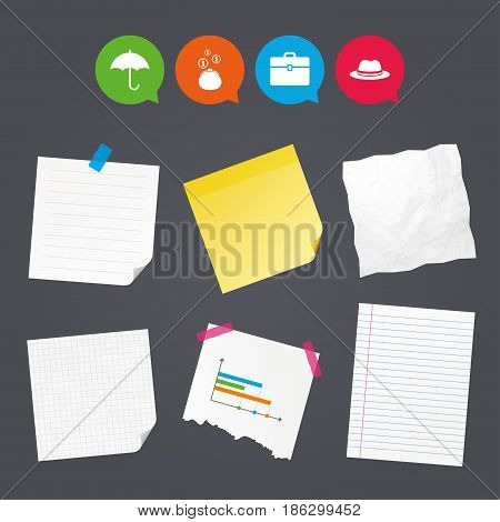 Business paper banners with notes. Clothing accessories icons. Umbrella and headdress hat signs. Wallet with cash coins, business case symbols. Sticky colorful tape. Speech bubbles with icons. Vector