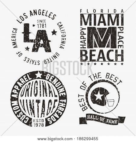 T-shirt print design. Set of various vintage stamp. Printing and badge applique label t-shirts, jeans, casual wear. Vector illustration.