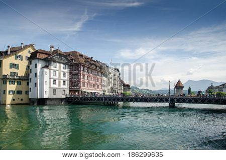 LUCERNE, SWITZERLAND - JUNE 12, 2013: Beautiful view on Lucerne on Reuss River, Switzerland