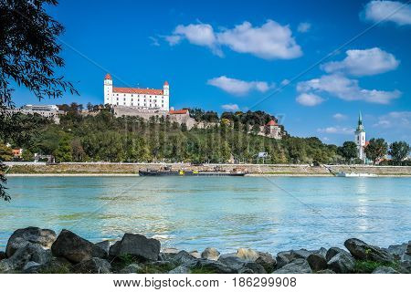 Bratislava castle with Danube river and blue sky