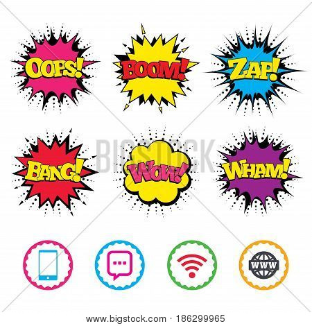 Comic Wow, Oops, Boom and Wham sound effects. Communication icons. Smartphone and chat speech bubble symbols. Wifi and internet globe signs. Zap speech bubbles in pop art. Vector