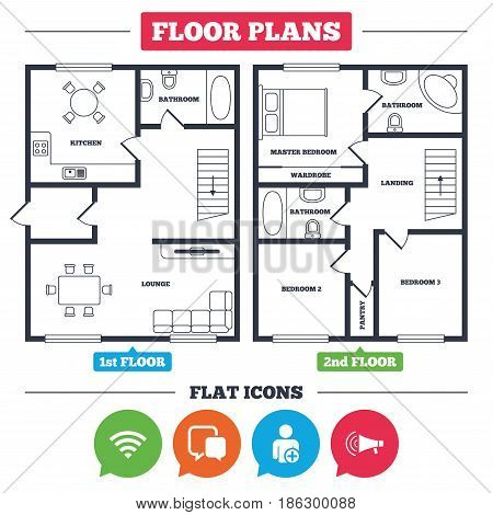 Architecture plan with furniture. House floor plan. Wifi and chat bubbles icons. Add user and megaphone loudspeaker symbols. Communication signs. Kitchen, lounge and bathroom. Vector