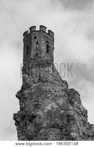 Tower of the Devin castle Slovakia black and white