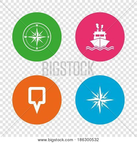 Windrose navigation compass icons. Shipping delivery sign. Location map pointer symbol. Round buttons on transparent background. Vector