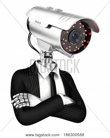 3d security agent with camera head illustration with isolated white background