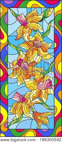 Illustration in stained glass style with daffodils on blue backgroundvertical orientation