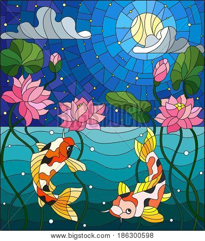 Illustration in stained glass style with koi fish and Lotus flowers on a background of the starry sky and water
