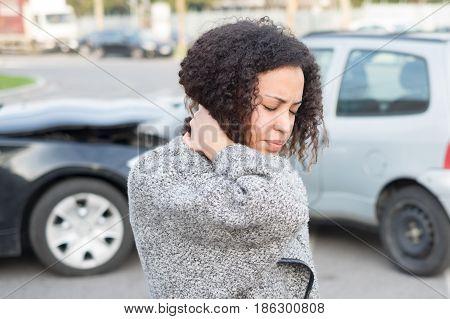 Injured Woman Feeling Bad After Having Car Crash
