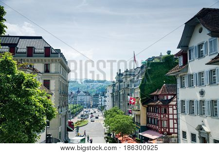 LUCERNE, SWITZERLAND - JUNE 12, 2013: Beautiful view of Lucerne city, from Church of St. Leodegar or Hofkirche St. Leodegar. iSwitzerland