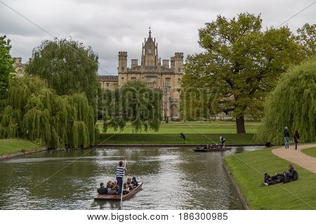 Cambridge UK - 1st May 2017: View of the university city of Cambridge in the UK