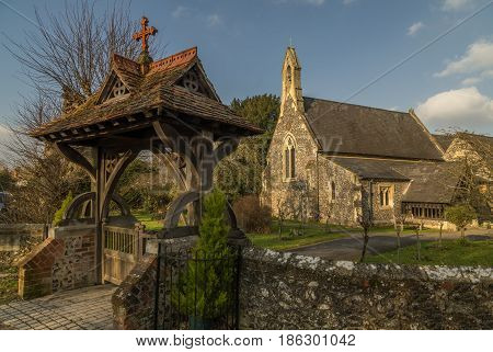 Cookham UK - 13th March 2017: View of St John the Baptist Church Cookham Dean Berkshire UK.