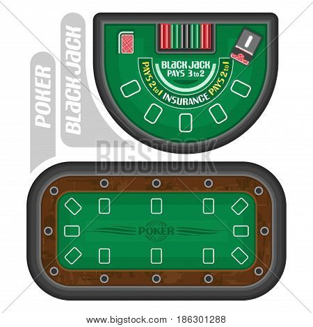 Vector images of Poker and Blackjack Tables: professional black jack table with playing card for online casino of gambling games, field for poker gamble entertainment - top view, isolated on white.