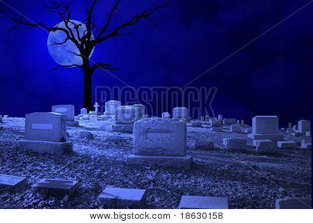 Cemetery Night Scene by Moonlight.