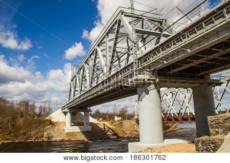Russia. The Leningrad Region. Losevo. Bridge over the Vuoksa River