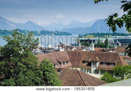 LUCERNE, SWITZERLAND - JUNE 12, 2013: Amazing view of Lucerne lake, Switzerland