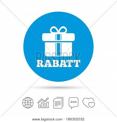 Rabatt - Discounts in German sign icon. Gift box with ribbons symbol. Copy files, chat speech bubble and chart web icons. Vector